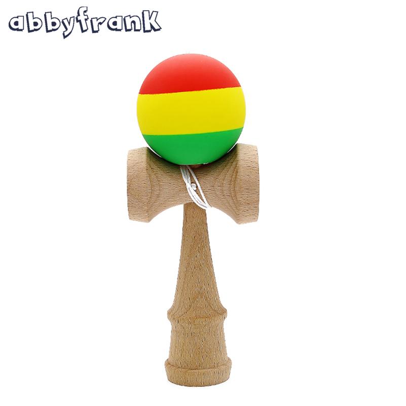 Abbyfrank Striped Rubber Kendama Scrub Sword Ball Wooden Toy Scrub Elastic Frosted Kendama Skillful Juggling Ball Games Toys