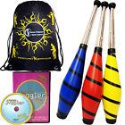 Beach Juggling Club Set - 3 Clubs + Club Juggling DVD (optional) + Travel Bag
