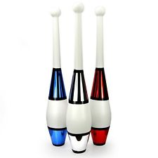 Juggling Clubs Set of 3 - One-piece Euro Style with Decorative Metallic Finish