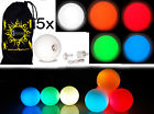 LED Juggling Balls- Set of 5 LED Coloured Pro Glow Juggling Balls + Bag