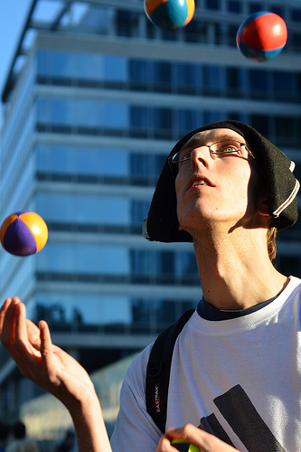 brussels man hat four glasses concentration young balls... (Photo: Simon Blackley on Flickr)
