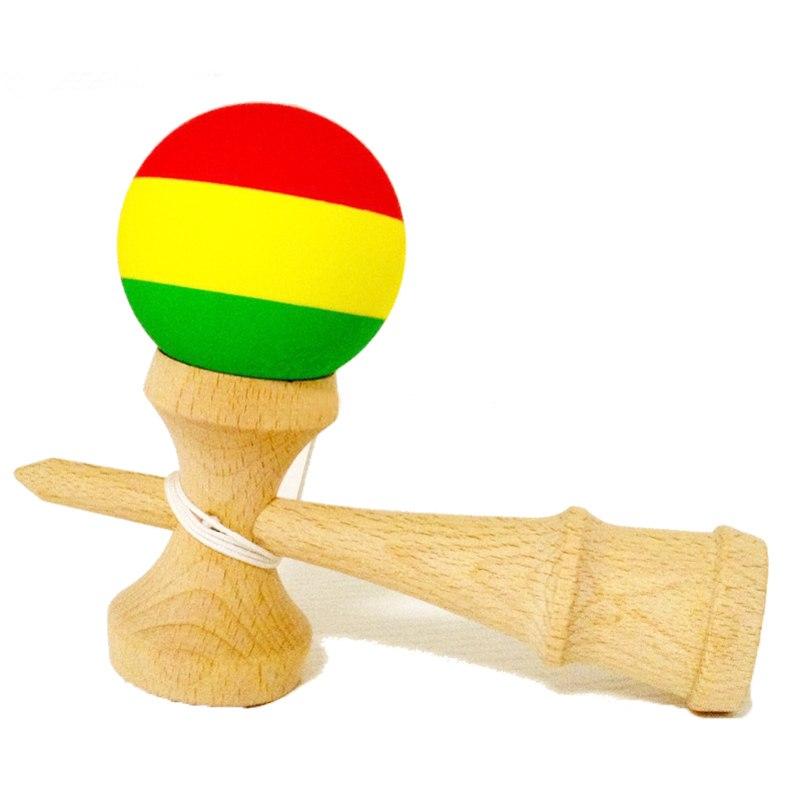 Scrub Three Colors Wooden Kendama Toy Professional Kendamas Juggling Balls Malabares De fuego Juegos De Habilidades Jongleren