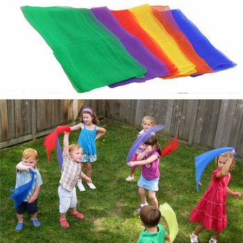 10Pcs/pack Kids Square Scarf Outdoor Game Sports Toy Juggling Silk Dance Scarves Toys For Children Performance Props Accessories