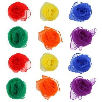 12pcs 60*60cm Hemmed Square Juggling Dance Scarves 6 Colors Desigual Scarves Square Scarf Polyester (Assorted Color)