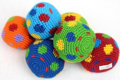 six (6) Hacky Sacks Juggling Balls Footbag Spots Made In Guatemala Magic Toy
