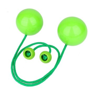 """2PCS/Set Professional Pendulum Contact Poi Juggling Balls with 3.4"""" Stage Pro Ball Nylon Cord Green Color"""