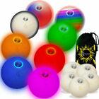 LED Juggling Balls- Set of 5 led Coloured Pro Glow juggling balls + Bag